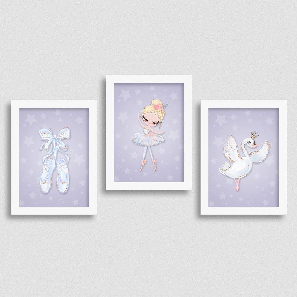 Quadro Balé e Bailarina Kit White Swan 1
