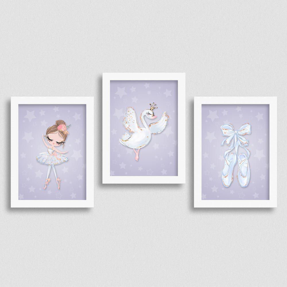 Quadro Balé e Bailarina Kit White Swan 2