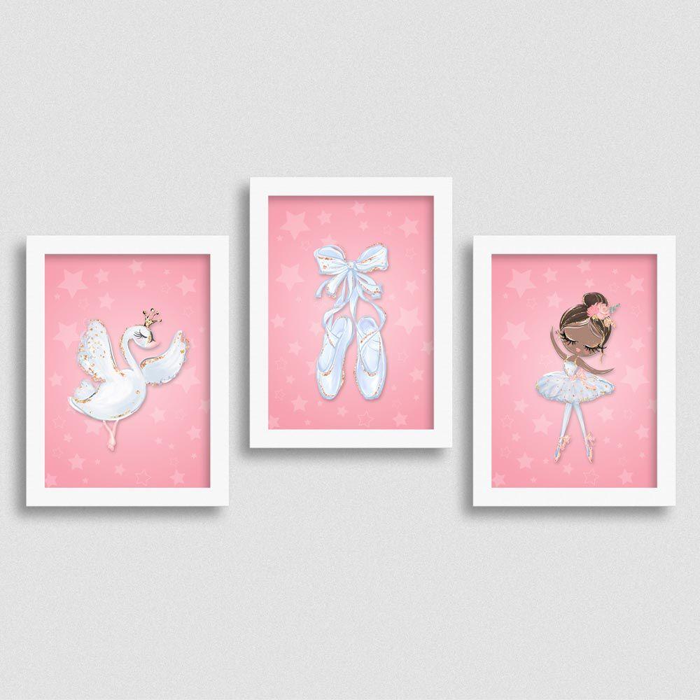 Quadro Balé e Bailarina Kit White Swan 3