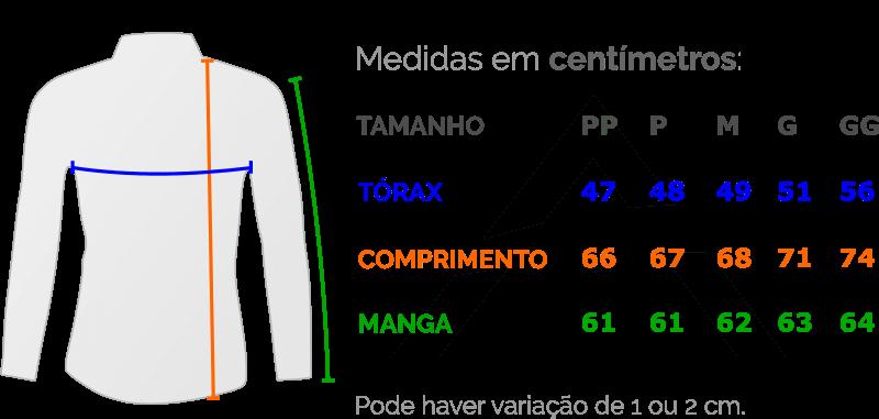 Camisa Social Masculina Slim Fit Luxo Estilosa - Tabela de Medidas