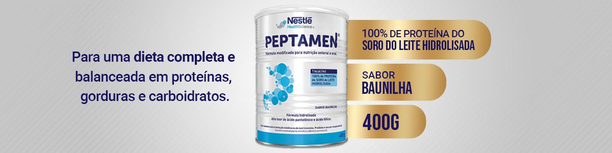 Lata de Peptamen em Pó com textos dizendo algumas especificações do produto.