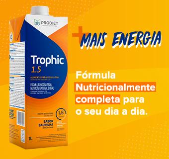 Caixa de Trophic 1.5 1L com o texto: + Energia, Fórmula Nutricionalmente completa para o seu dia a dia.
