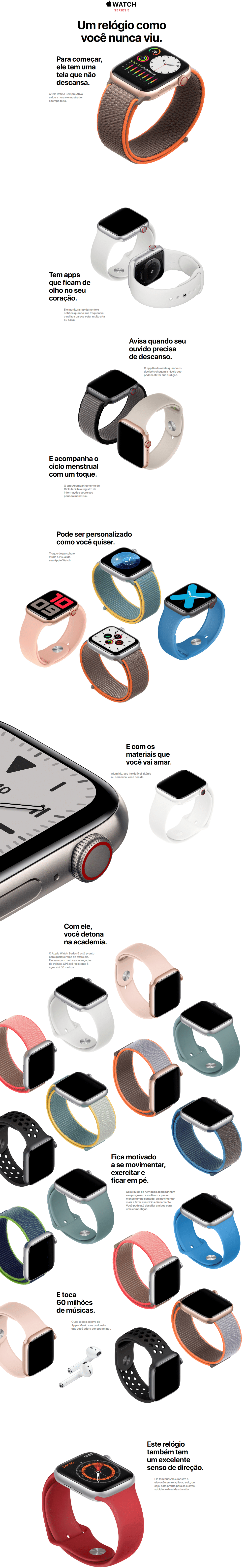 apple watch serie 5 novo 44 mm prata
