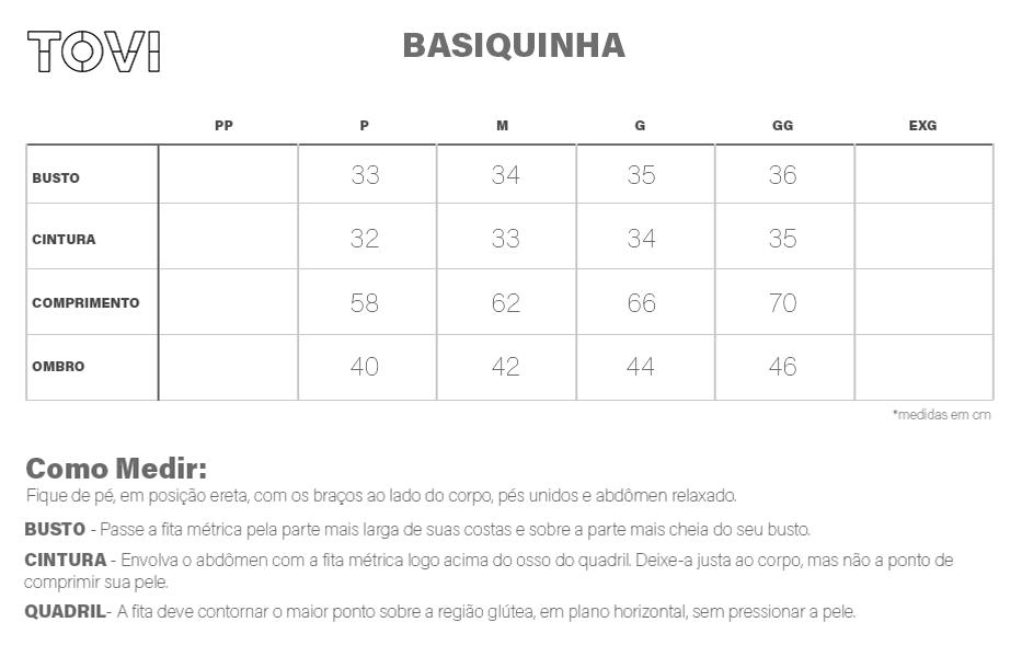Tabela de medidas Basiquinha 100% Algodão