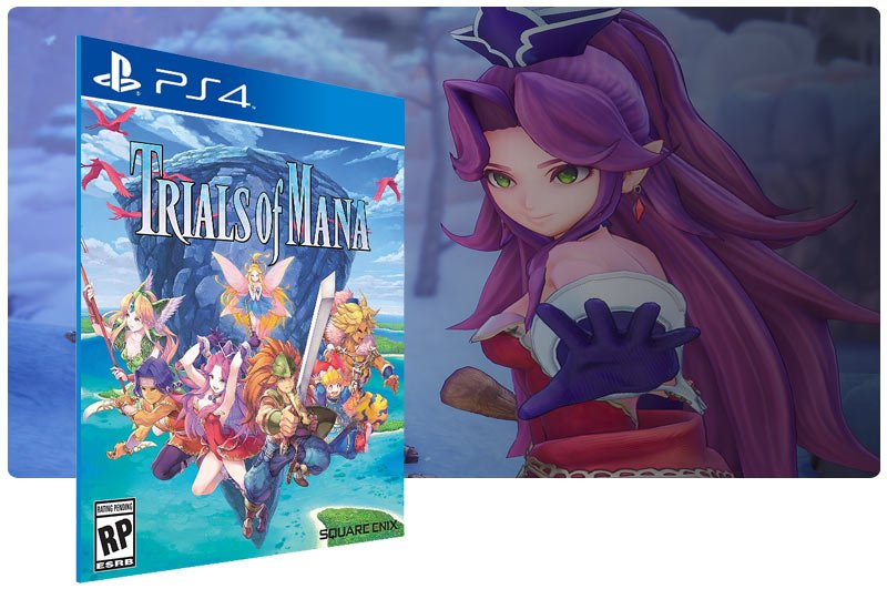 Banner do game Trials of Mana em mídia digital para PS4