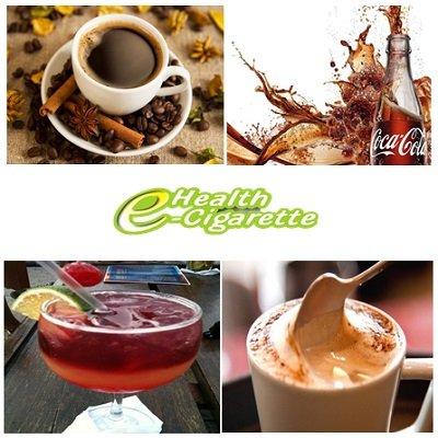 líquidos para cigarro eletronico sabores café, capuccino, coca-cola e groselha, recargas de 20, 30 e 70ml nos teores de 00mg a 18mg.