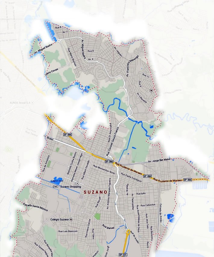 Mapa de Região de entrega de Suzano