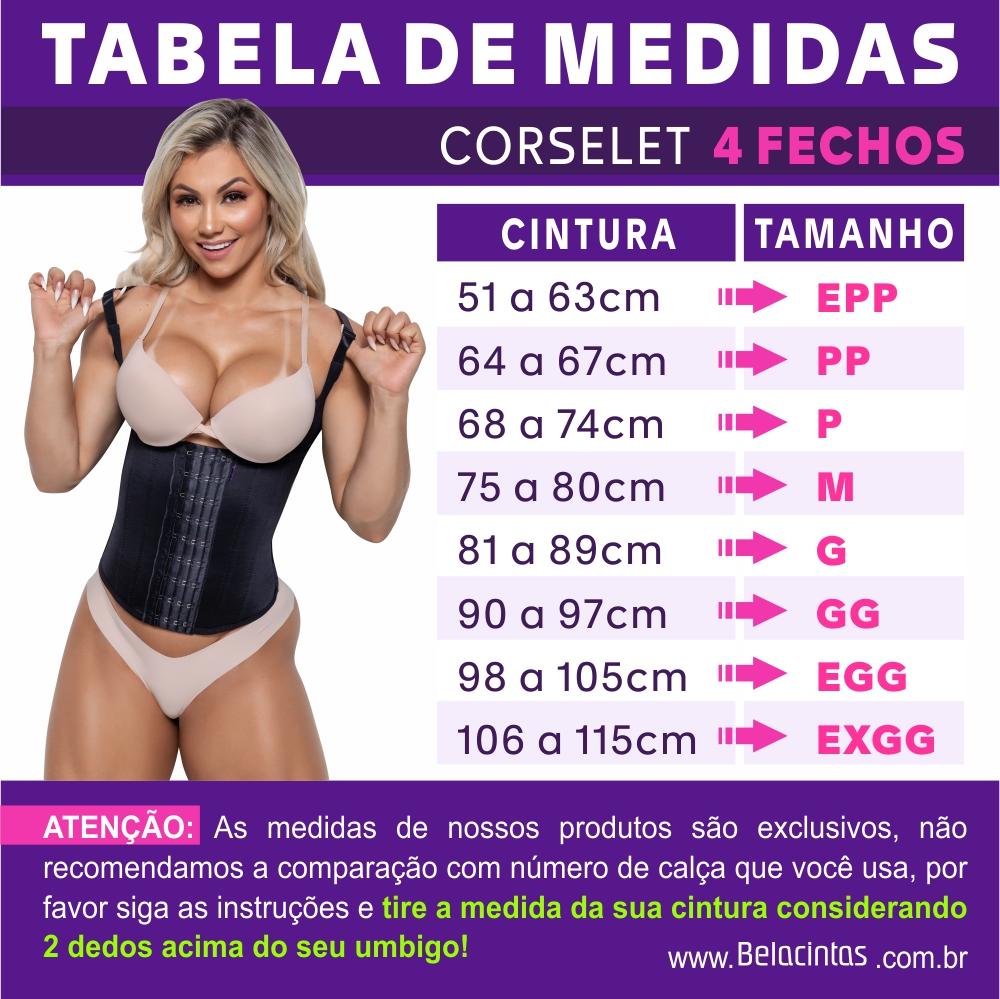 Tabela de Medidas Corselet com 4 Fechos