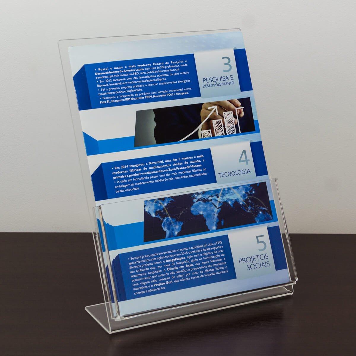Porta folder a4 de acrílico vertical