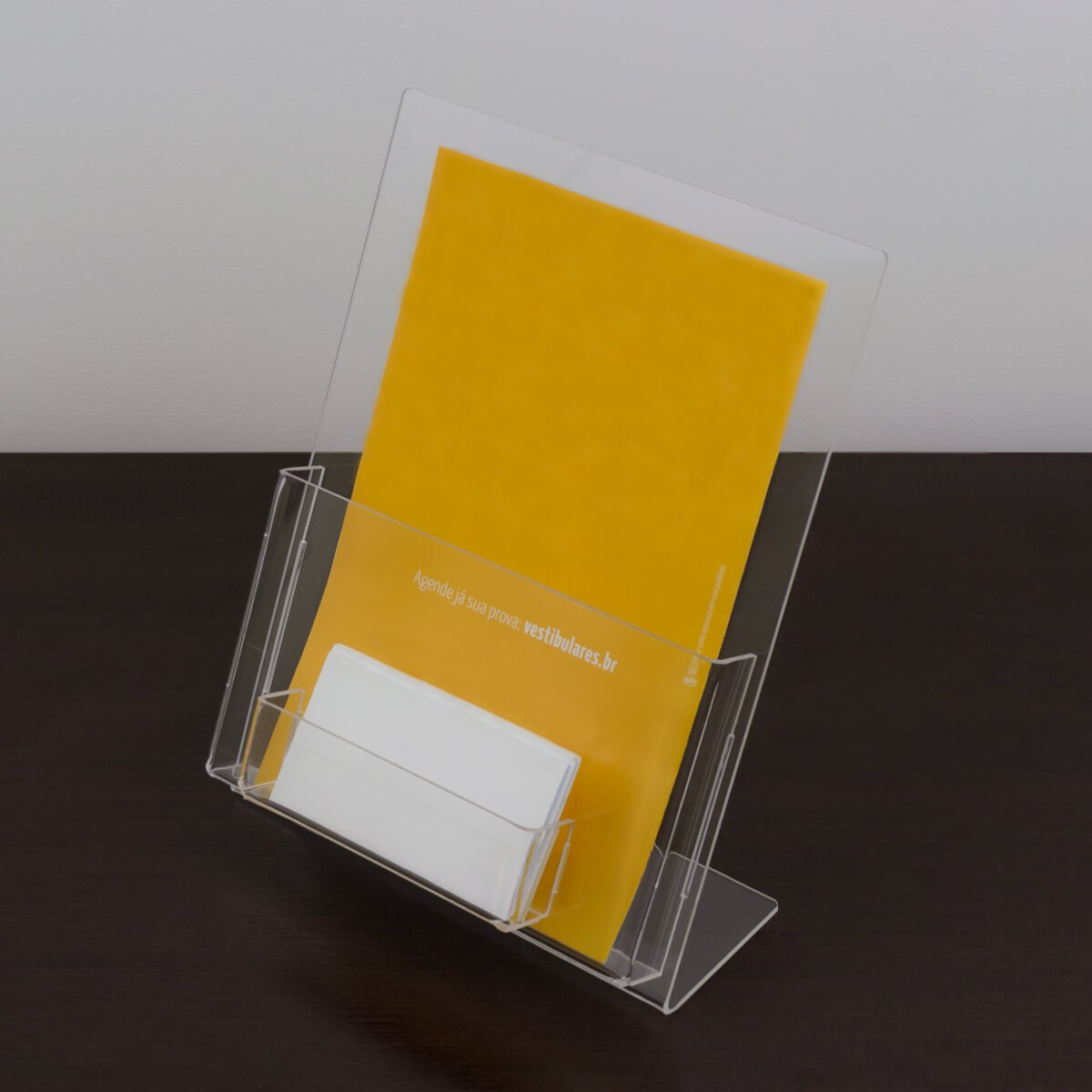 Porta panfletos a5 com porta cartão de visita