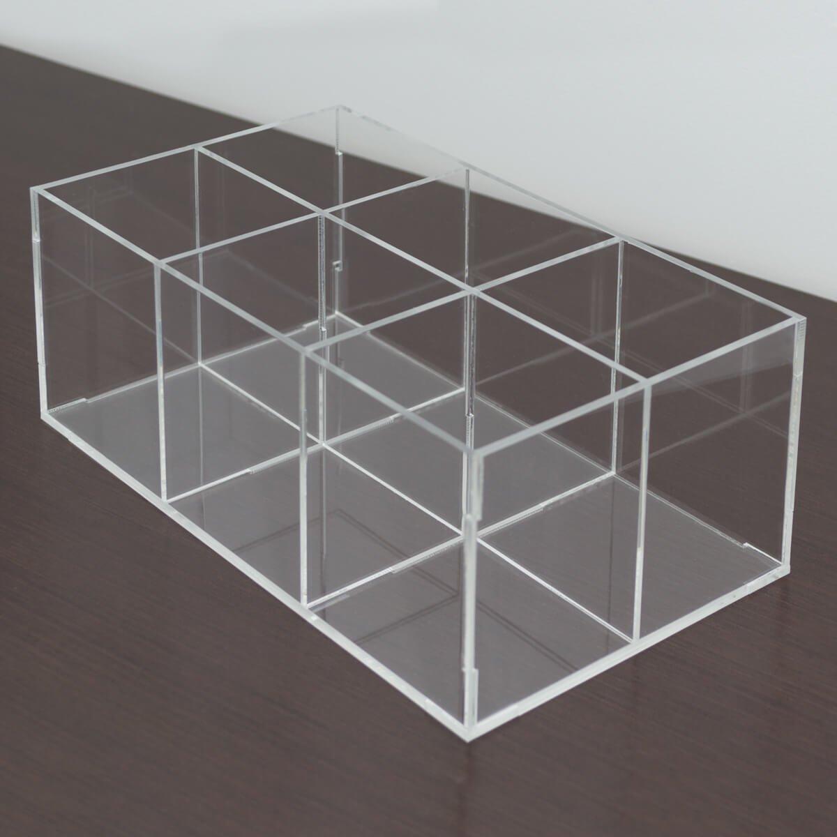 Porta pincel de acrílico transparente com 6 divisórias