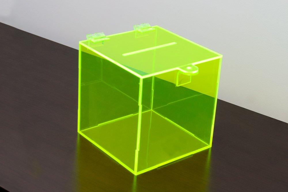 Urna de acrílico verde fluorescente