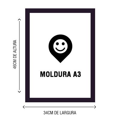 Poster tamanho A3 com moldura na cor preta ou branca com fechamento em vido.