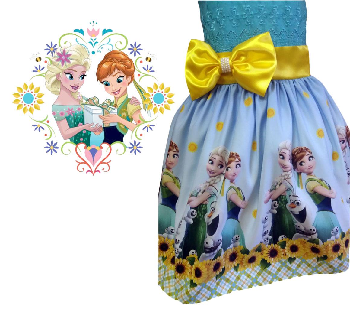 Vestido Ana e Elza Frozen Festa Infantil Tema Princesas tia Gina.