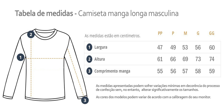 tabela de medidas de camisetas masculinas