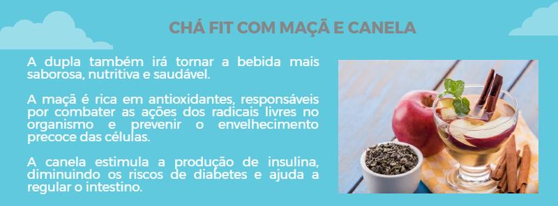 Chá Fit Emagrecedor Detox Com  Maçã e Canela, Bebida Rica em Antioxidantes