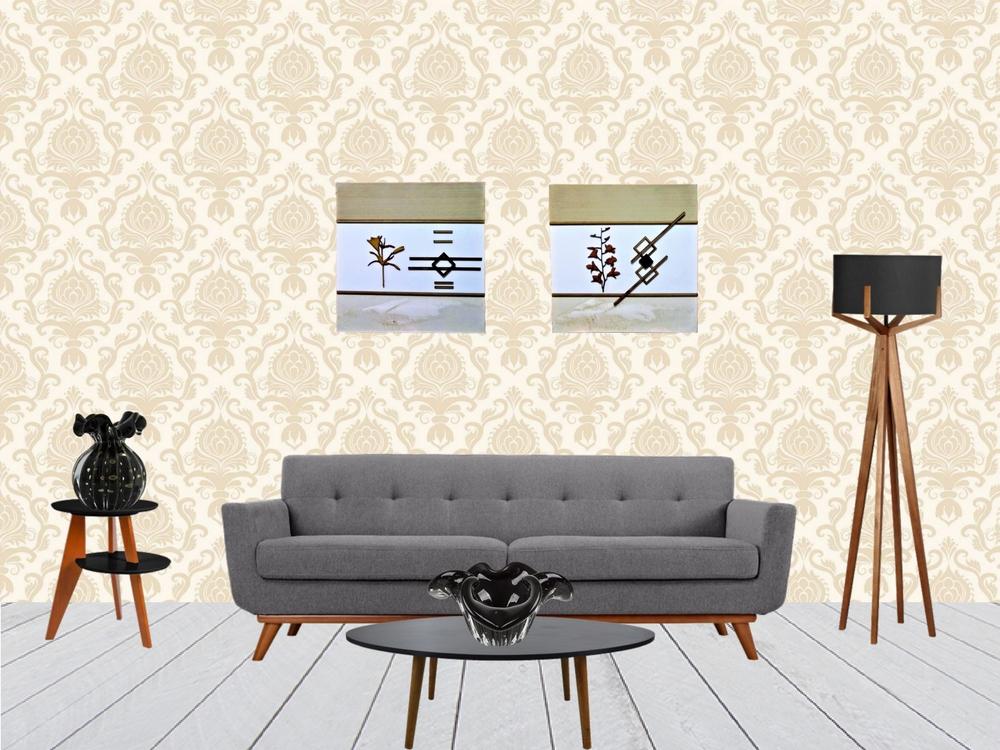 Par de Quadros Decorativos Tela Quadrado Bege e Palha