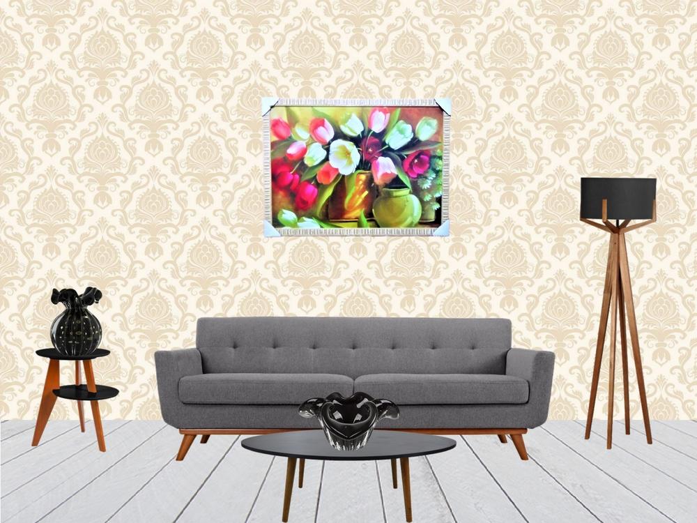Quadro Decorativo Com Arranjo de Flores Colorido