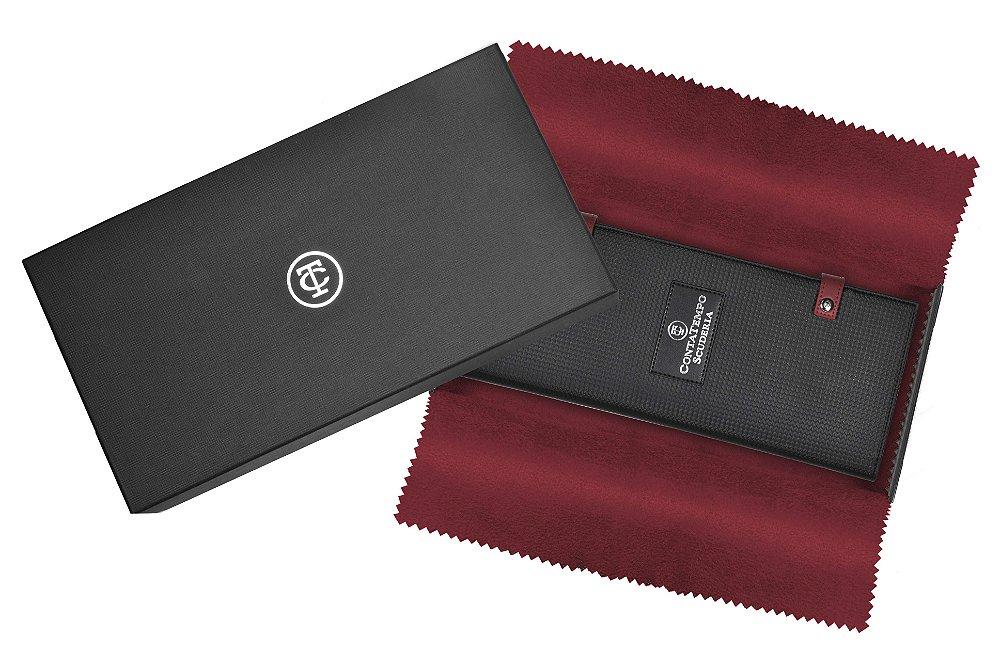 Relogio masculino esportivo CT Scuderia Saturno rosé e pulseira de couro Preto embalagem