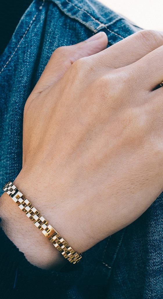 Pulseira de aço masculina dourada