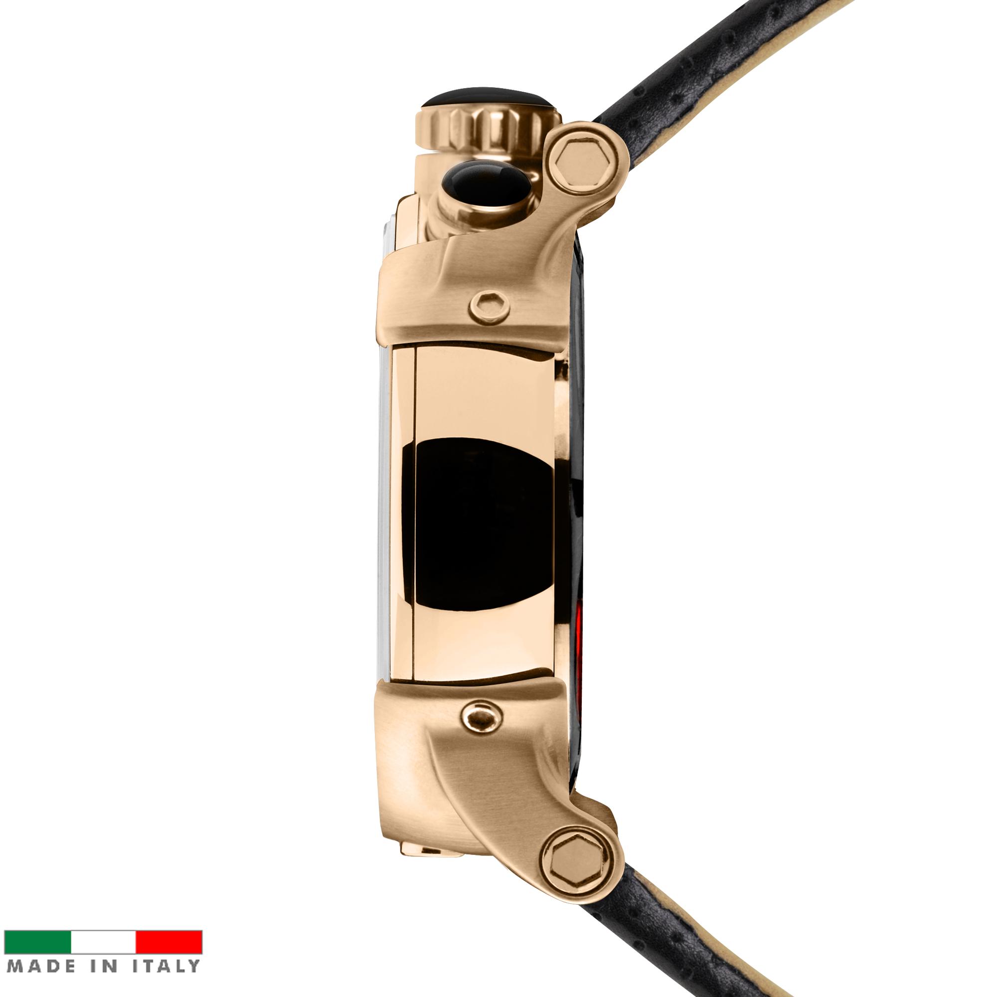 Relogio masculino esportivo CT Scuderia Saturno rosé e pulseira de couro Preto lateral