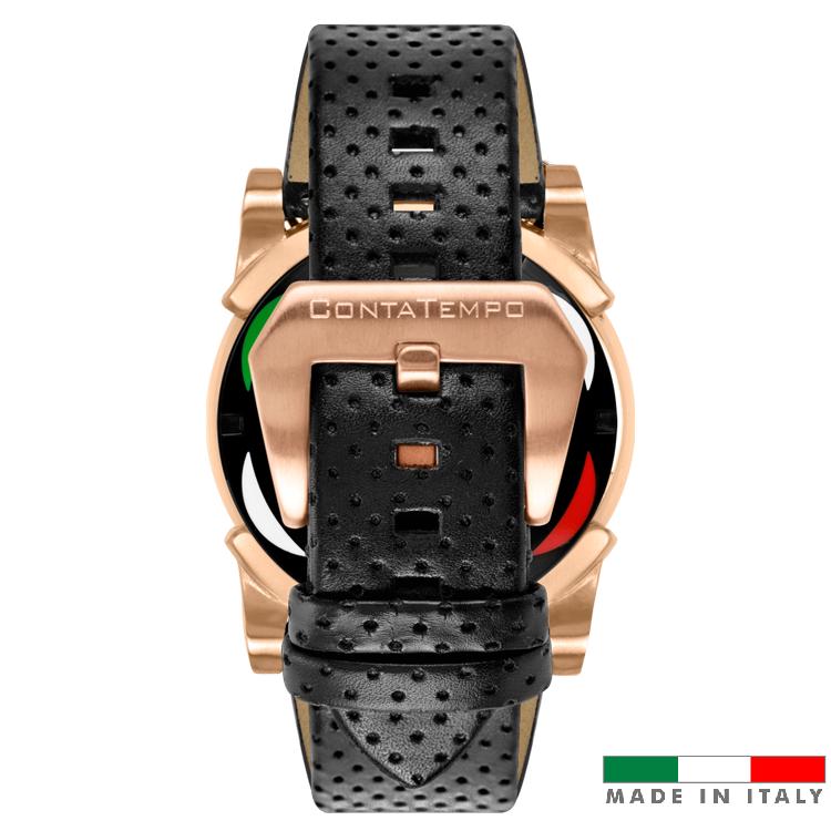 Relogio masculino esportivo CT Scuderia Saturno rosé e pulseira de couro Preto fivela