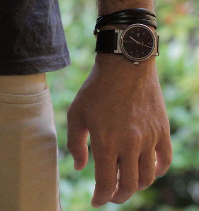 Relogio social masculino LACO 1925 Absolute aço inox pulseira de couro preto 880203_post MHM