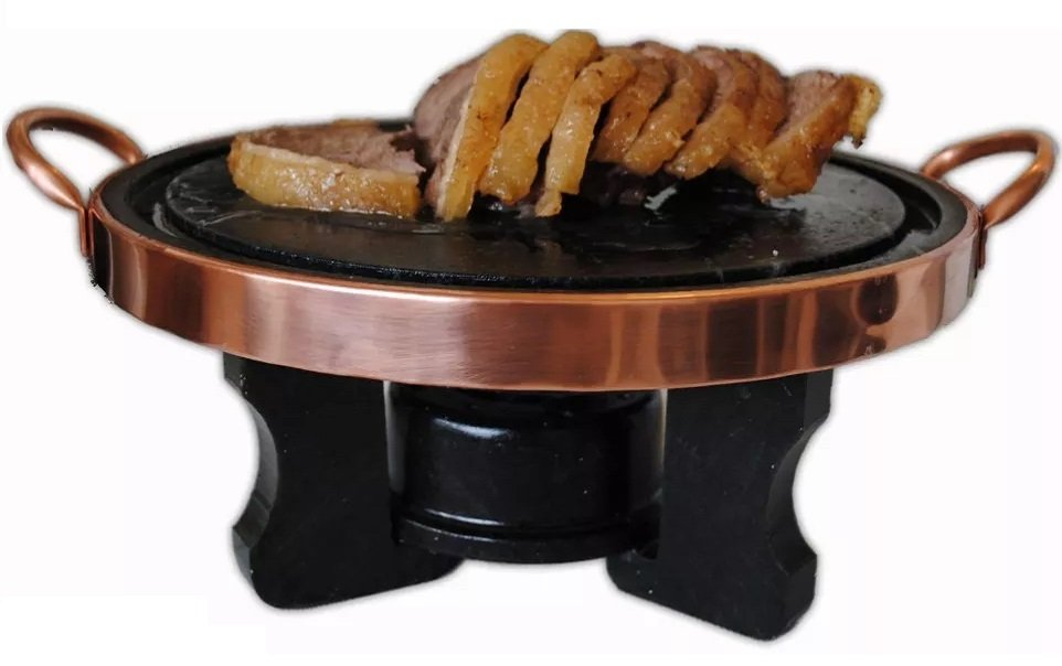 fondue de carne em pedra sabão com rechaud