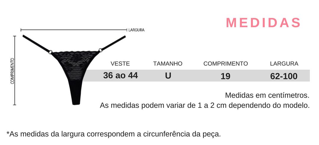 5d05d9478 Tabela de Medidas da Calcinha Fio Dental G-String com Pingente de Coração  Love