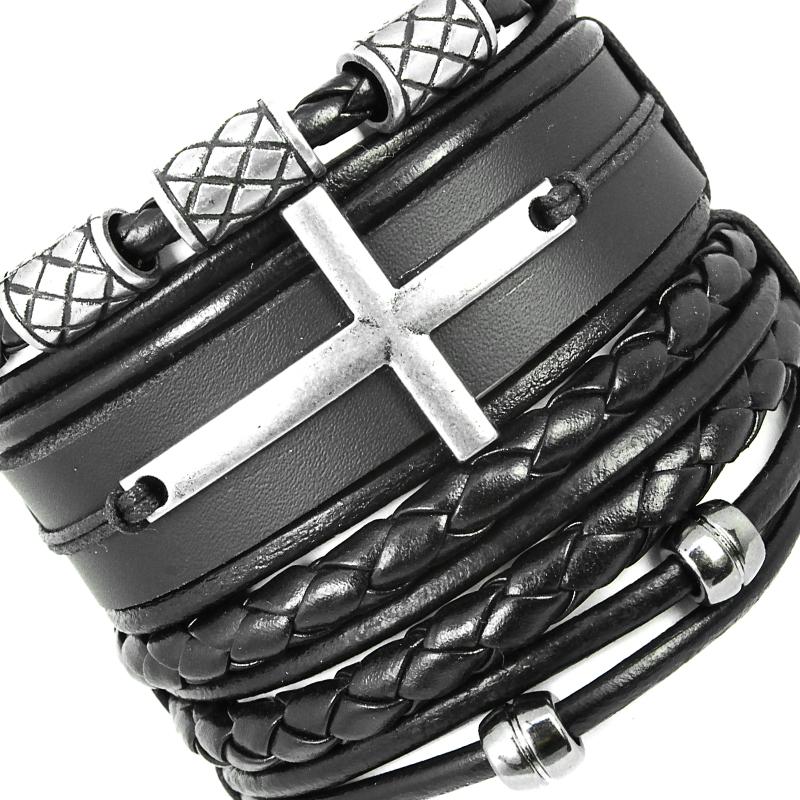 pulseiras-masculinas-de-cruz-negra