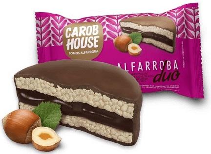 Alfarroba Duo carob house biscoito de arroz com creme de avelã