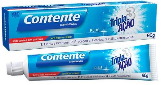 creme dental pasta de dente vegana contente plus tripla ação suavetex 90g