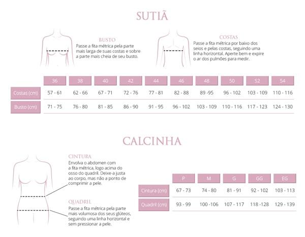 Guia de Medidas Valisere Lingerie de Luxo