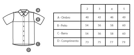 Tabela de Medidas Camisa Estampada Masculina