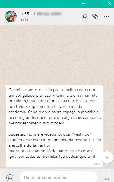 Depoimento via Whatsapp de quem comprou a Mochila Térmica