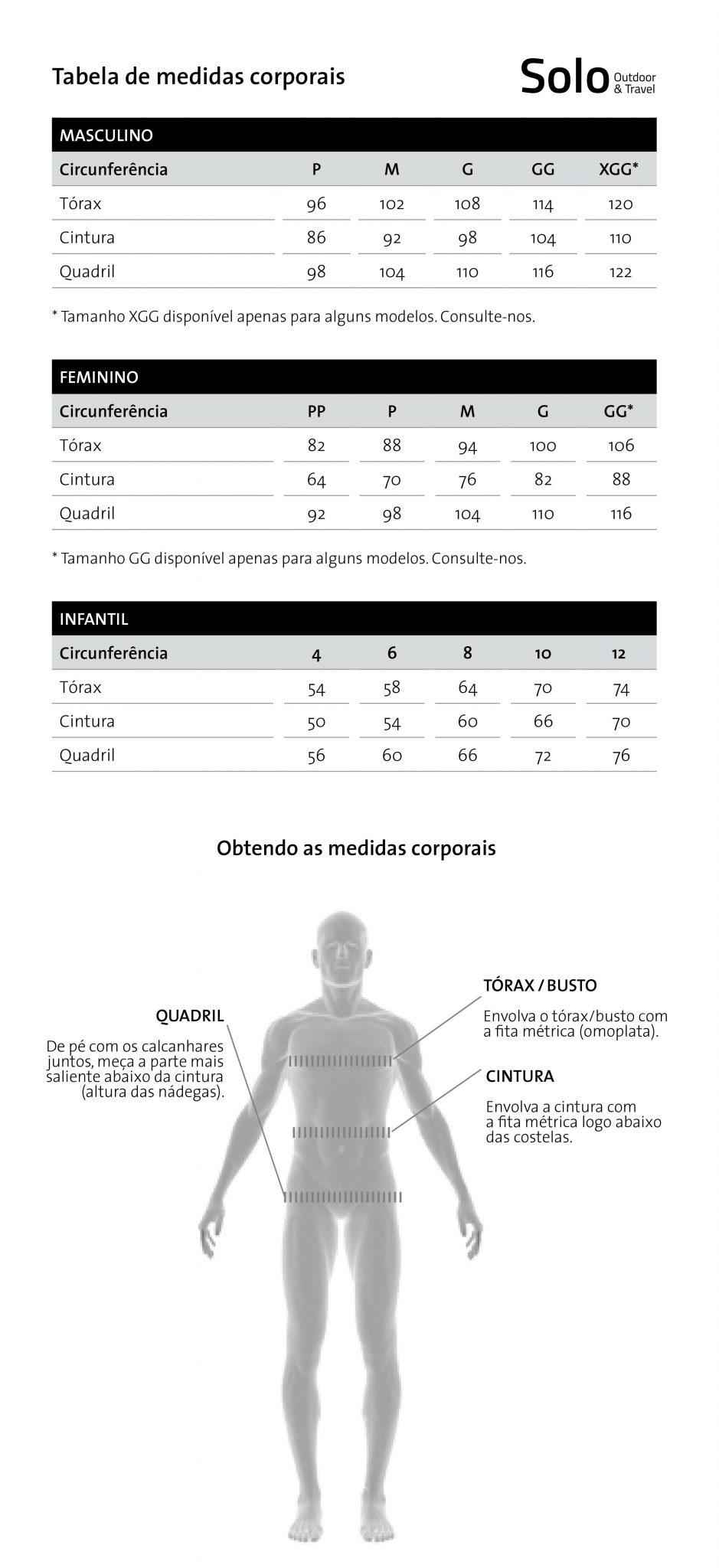 Tabela de Medidas Corporais | Solo Outdoor & Travel