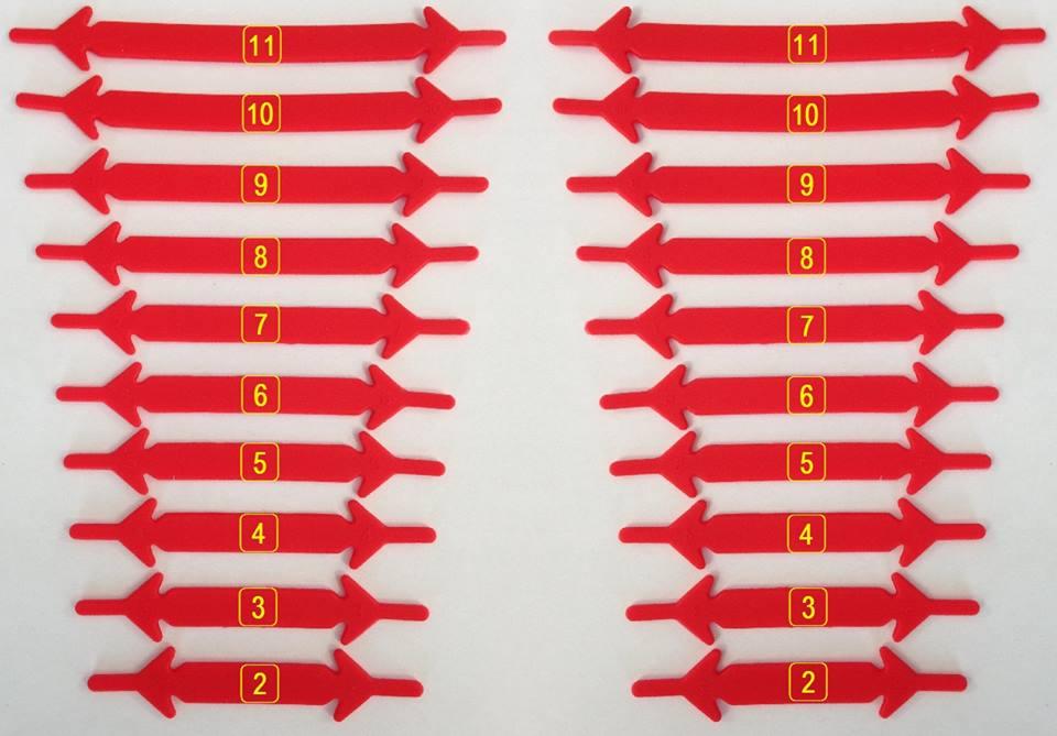Cadarço de silicone com numeração para melhor utilização