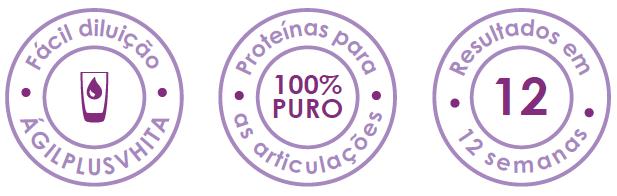 imagem com as descrições: AgilPlus, fácil diluição, 100% puro, resultado em 12 semanas