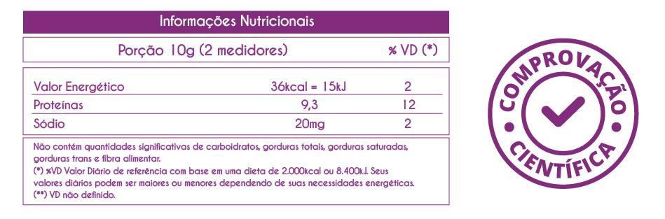 tabela com informações nutricionais agilplus colágeno tipo 2