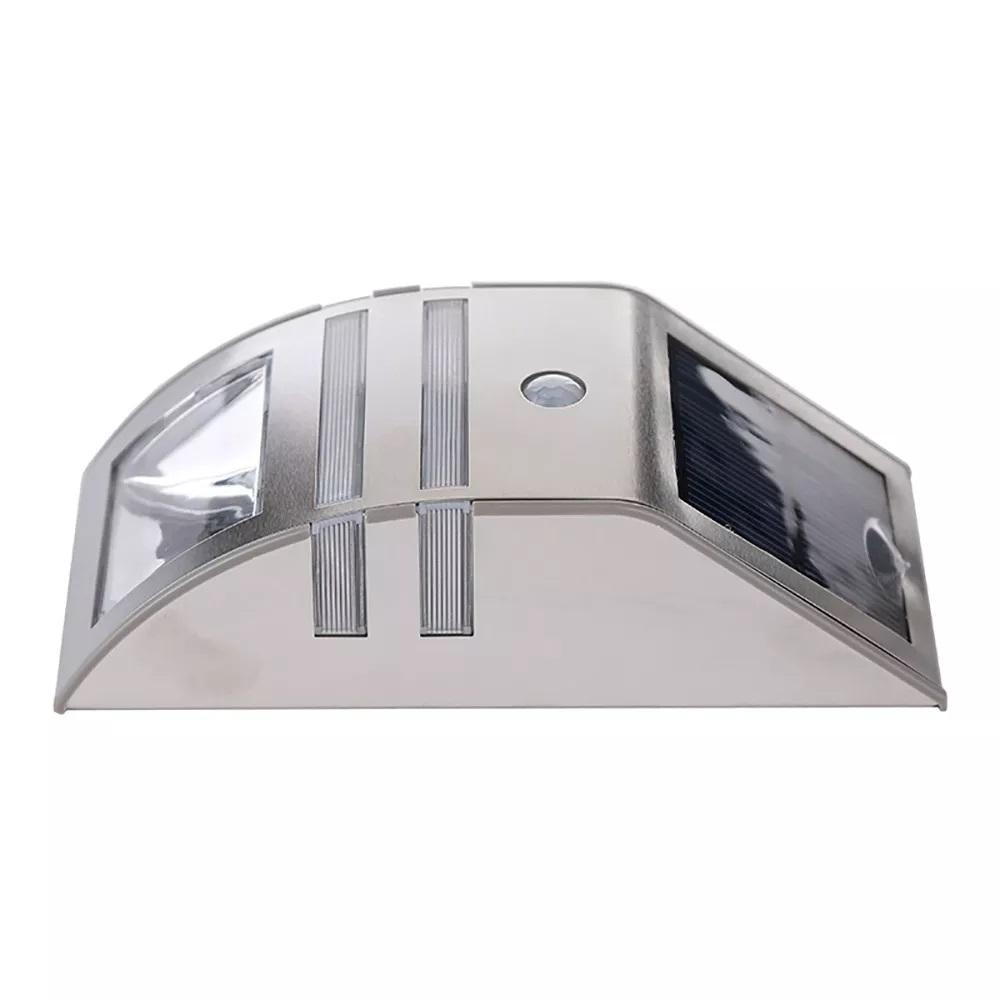 Luminaria Lampada Solar Branco Frio De Parede Muro Jardim Material Inox CasaClique Com Sensor Movimento (1)