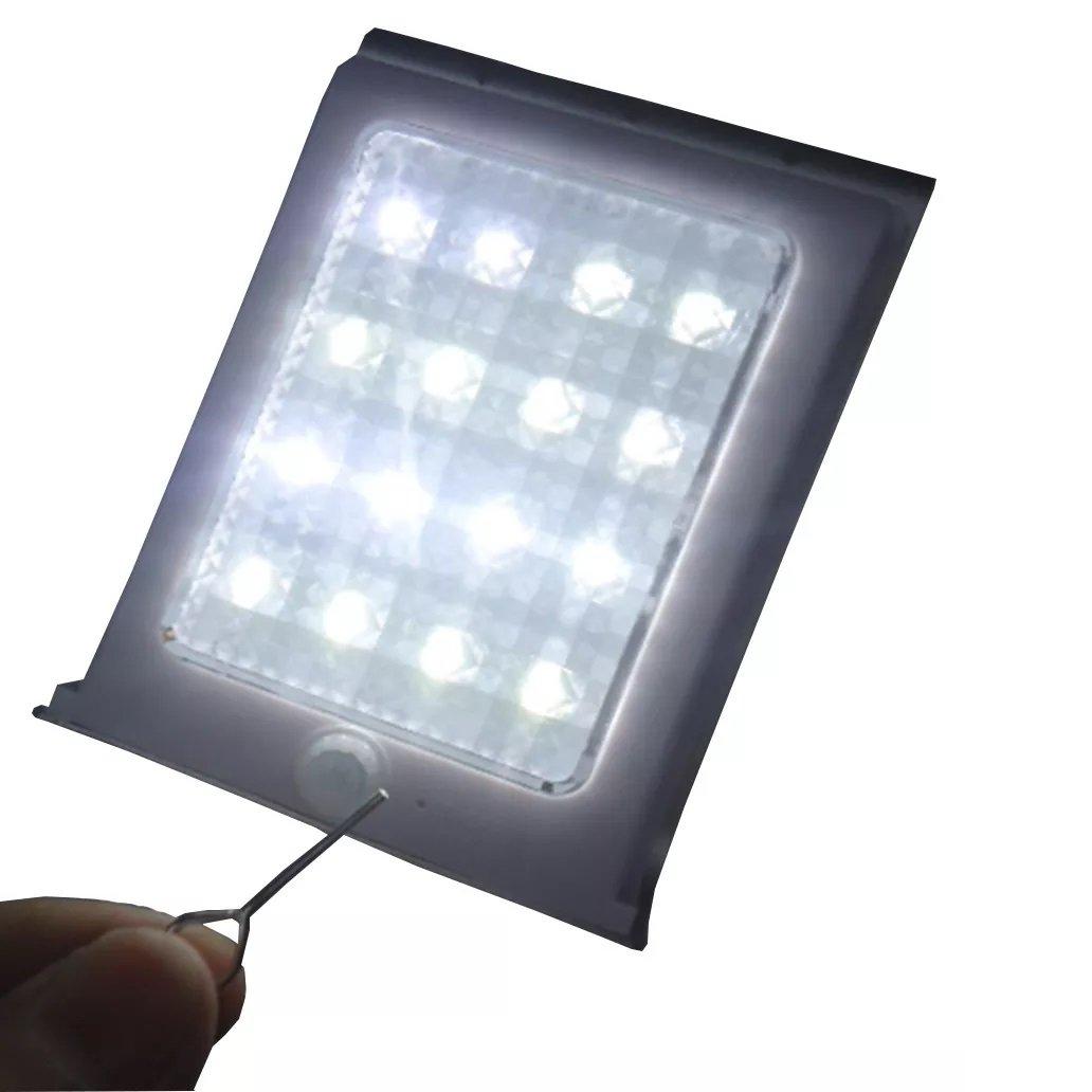 Luminária Solar Externa 16 Leds Com Sensor De Movimento