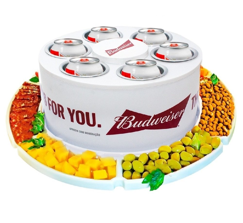 Petisqueira Giratoria + Cooler 6 Porta Latas Cerveja Long Neck Kit Churrasco BUDWEISER CasaClique (4)
