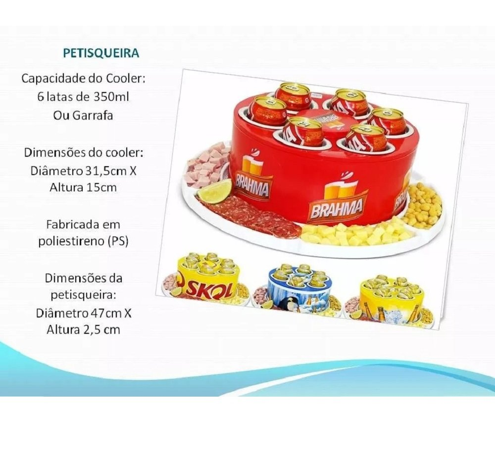 Petisqueira Giratoria + Cooler 6 Porta Latas Cerveja Long Neck Kit Churrasco CasaClique (2)