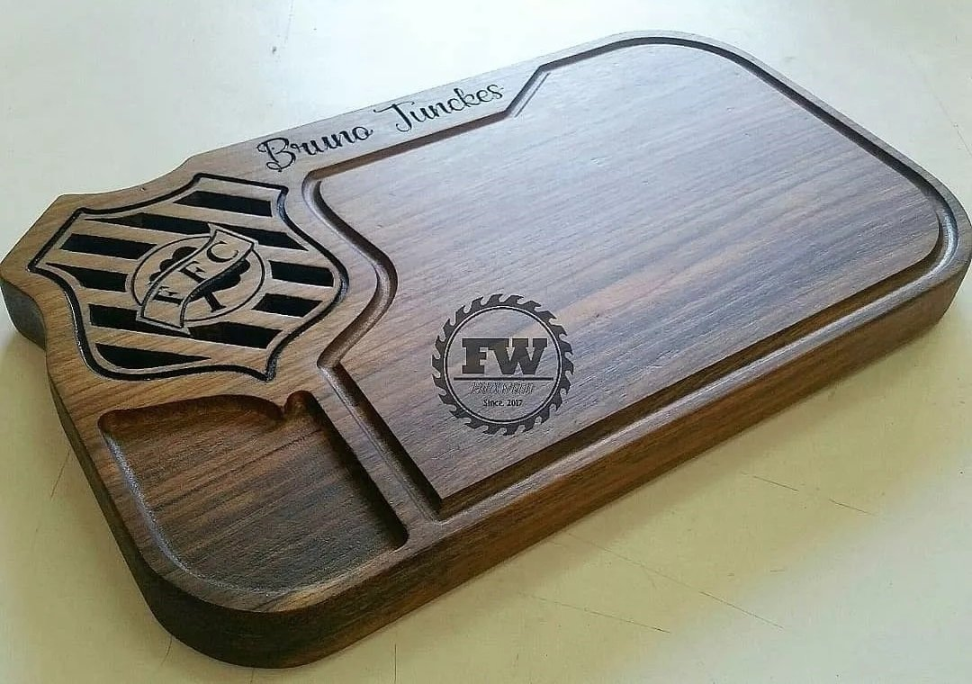 tabua de carne de madeira do figueirense kit churrasco