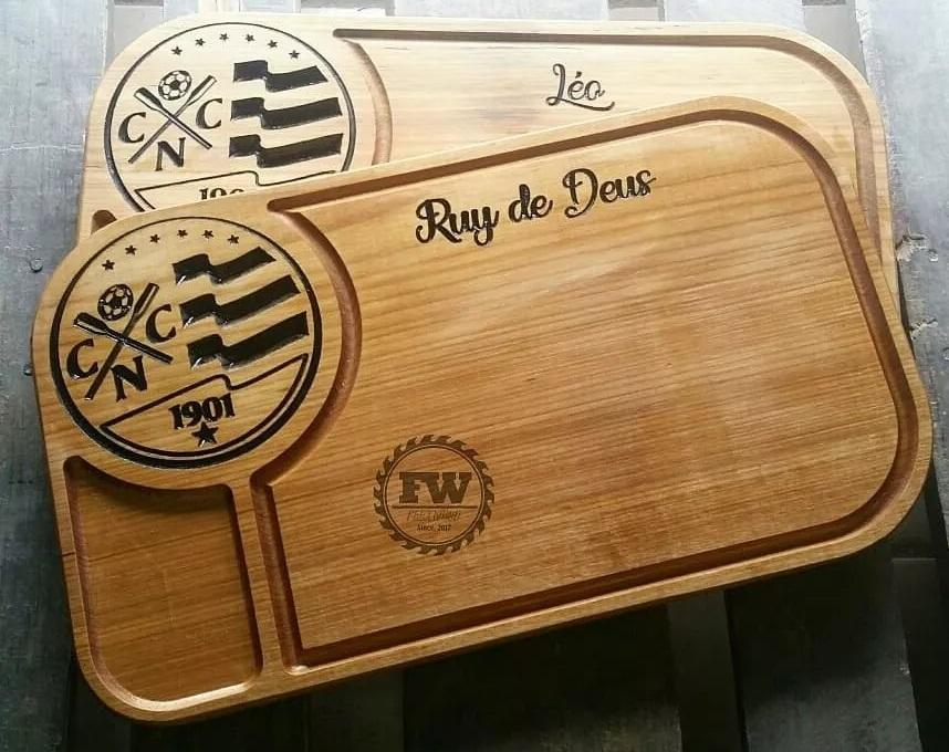 tabua de carne de madeira kit churrasco NAUTICO personalizada