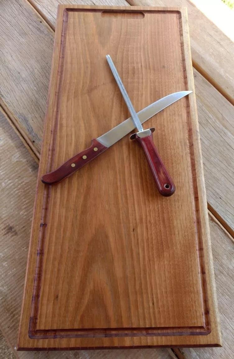 Tábua De Carne Madeira Grande 70x30cm Para Churrasco