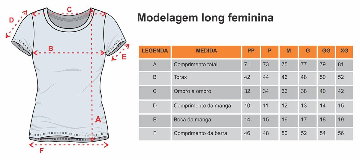 modelagem camiseta long feminina