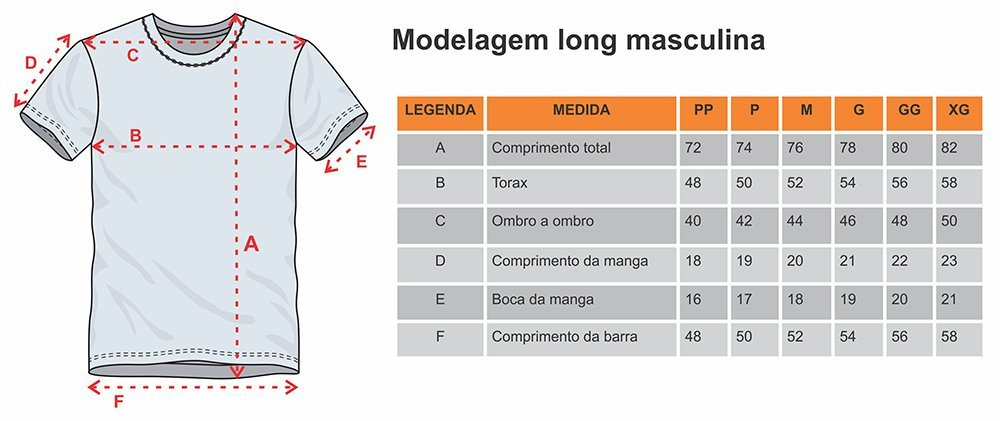 Modelagem da camiseta masculina long
