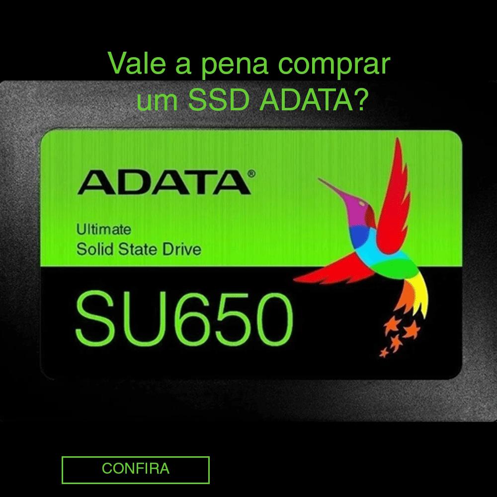Arte com SSD Adata que tem chamada de blog