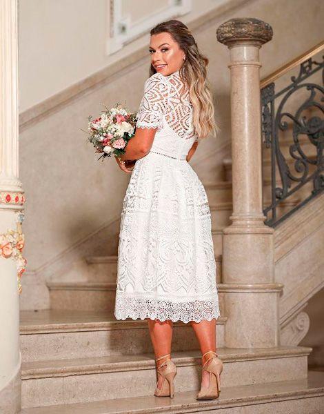 Vestido Midi Branco De Renda Perfeito Para Pre Weddin